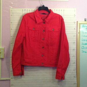 TOMMY HILFIGER jean style jacket sz XL red
